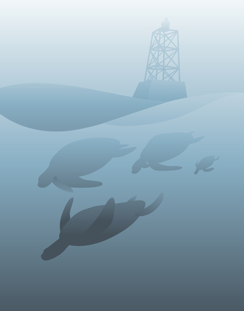Sea Life Lighthouse Vector Concept