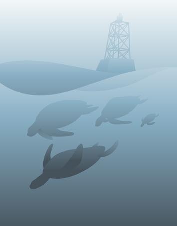Sea Life Vuurtoren Vector Concept