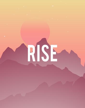 Sun Rise Mountains Graphic Vector Concept