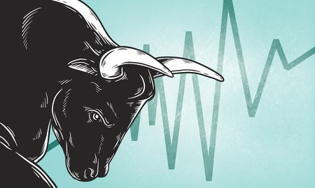 Bull Market Artwork Icon Business Concept Çizim