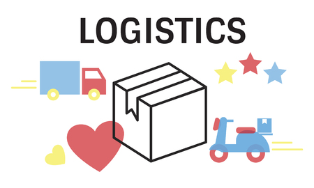 Logistics concept isolated on white background Stock Photo