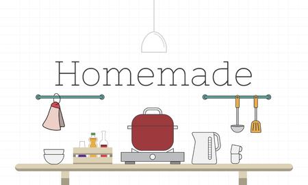 Illustration des Lebensmittels kochendes Küchengerät Standard-Bild - 81573049