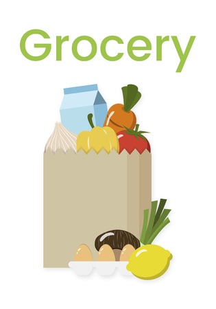 Illustration of paper bag full of grocery