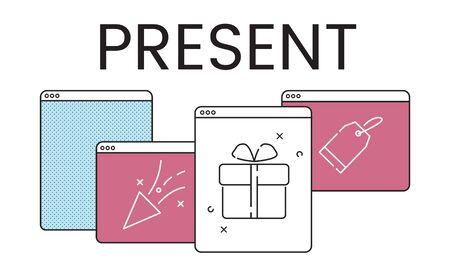 Illustration of anniversary celebration surprise interface Banco de Imagens