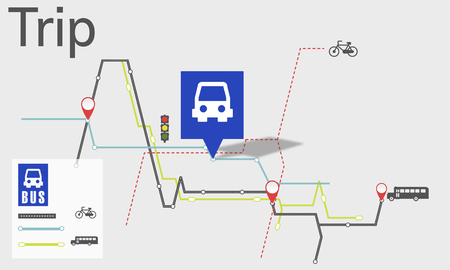 Kaart Route Trip Transport Locatie Gids Stockfoto
