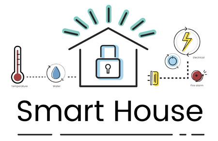 스마트 하우스 발명 자동화 기술의 일러스트 레이션