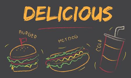 Burger hotdog cola fast food menu Stock Photo