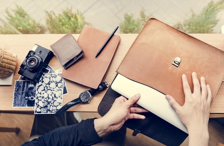 Leather briefcase for photographer and camera