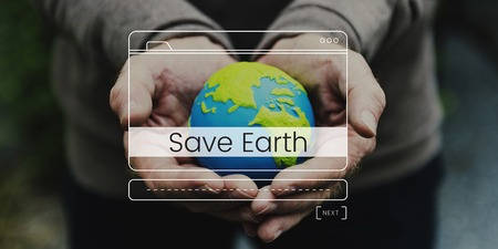 Save environment protection word with website layout banner on globe hands background