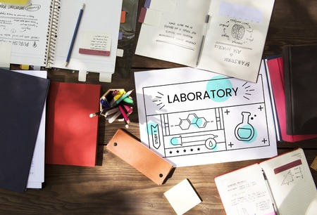 pencil case: Illustration of science chemistry experiment study on banner