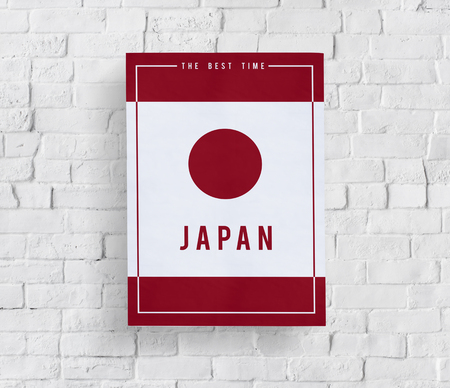 Japanese nation flag illustration patriot on  white brick wall Фото со стока