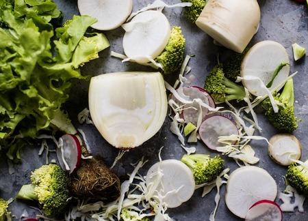 Chopped radish turnips and broccoli