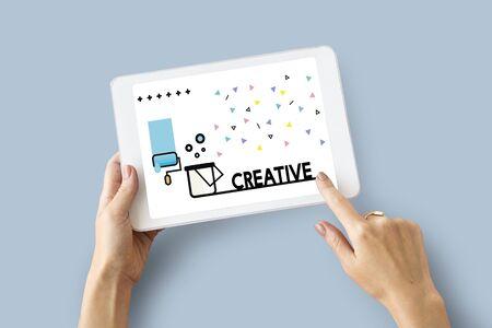 Graphic of creative art design on digital tablet Stock Photo