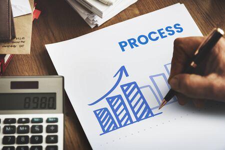 Succes bedrijfsanalyse marketingstrategieplan Stockfoto