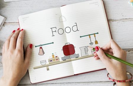 writing utensil: Illustration of food cooking kitchen utensil on notebook Stock Photo