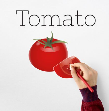 Illustration of nutritious tomato healthy food