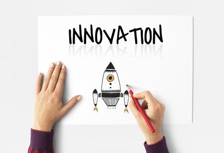 Illustration of innovation spaceship technology