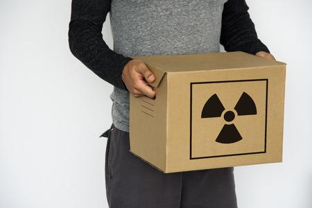 Radioactive Caution Warning Package Sign Symbol Imagens