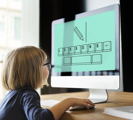 Little Girl Using Computer Concept