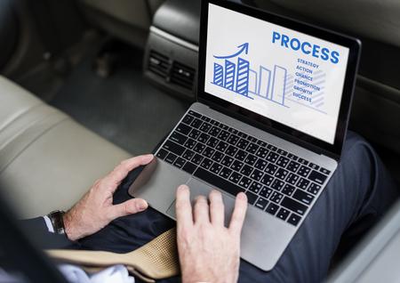 Businessman analysis marketing strategy plan