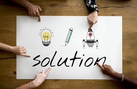 Illustration of creativity ideas for problem solving solution Stock Photo
