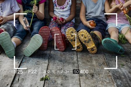 Graphique de la photographie de mise au point de l'objectif de la caméra Banque d'images - 81708549