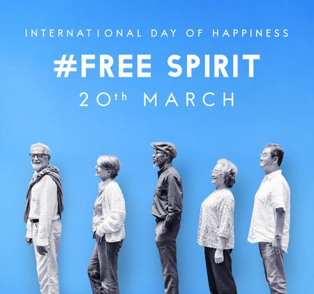 Bonne journée internationale de bonheur Banque d'images - 81583883
