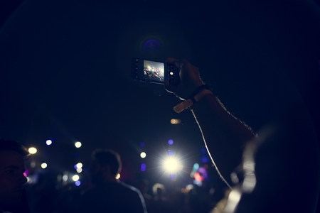 People Taking Photo in Music Concert Festival Stock Photo