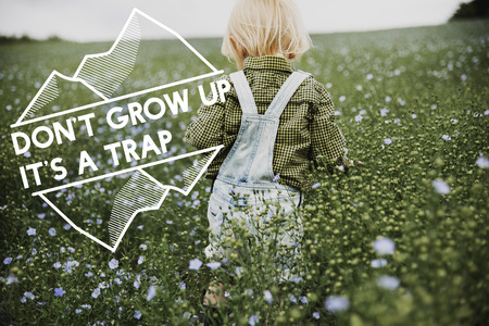 Dont Grow Up Its A Trap Flower Field Child Stock fotó
