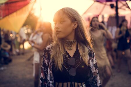 Woman Standing in Music Festival