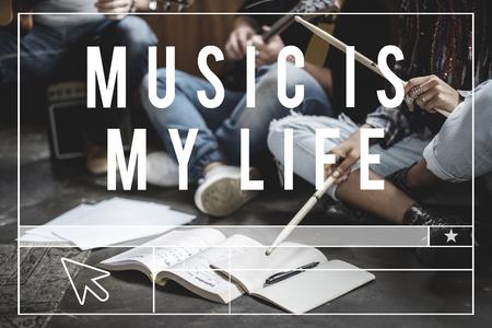 一緒に人々 の練習の音楽のリハーサルをグループします。