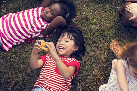 Happiness group of cute and adorable children lay down