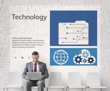 ネットワーク接続グラフィック オーバーレイの背景の壁に看板 写真素材 - 81688910