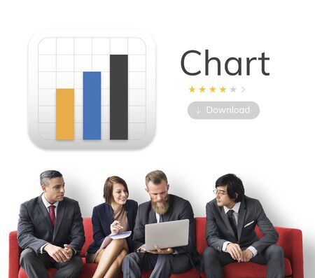 evaluate: Business people with analysis business chart illustration Stock Photo