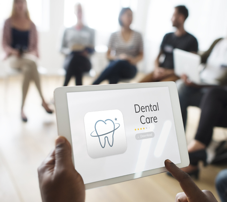 Illustration of dental care application on digital tablet Stock Photo