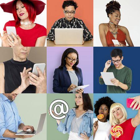 papercraft: Set of Diverse People Communication Studio Collage