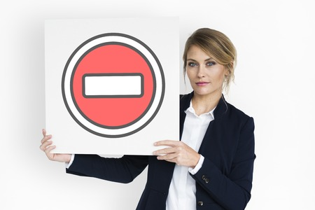 Minus Negative Prohibited Restricted Sign Stock Photo