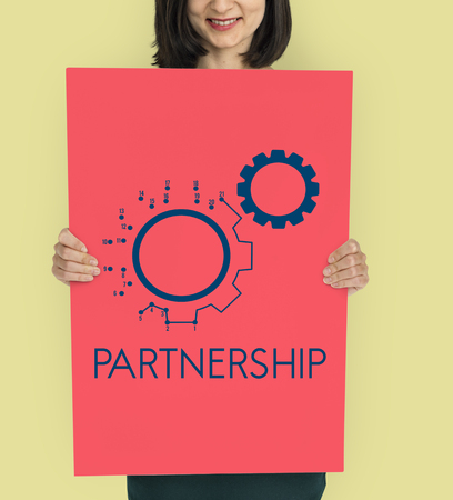 Connection Partnership Leadership Corporation Gear Icon Graphic Word Stock Photo