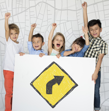 uturn: Children holding network graphic overlay banner