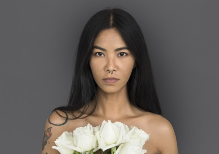 Woman Pierced Nose Ring Bare Chest Arts Flower Bouquet