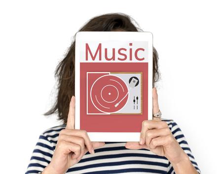 Illustratie van retro muziek vinylverslag op grammofoon