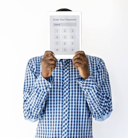 Man holding network graphic overlay digital device covering face Stock fotó
