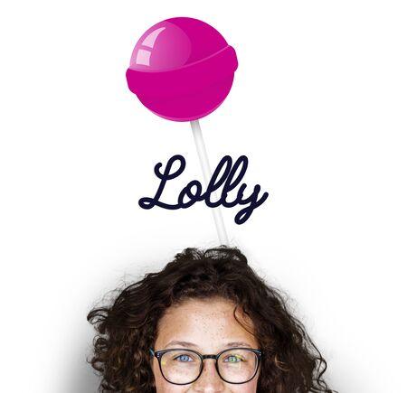 Girl with illustration of sweet candy lollipop Zdjęcie Seryjne