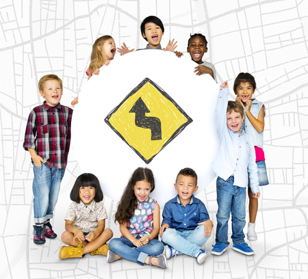 Children holding network graphic overlay banner