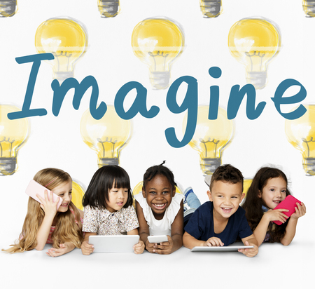 inspiring: Group of students with creativity imagination illustration