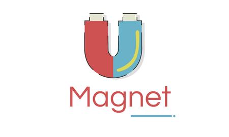 Illustratie van hoefijzer magnetische veld energie