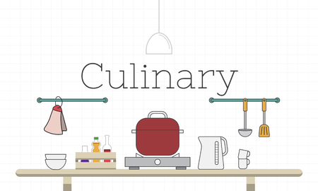 주방기구를 요리하는 그림