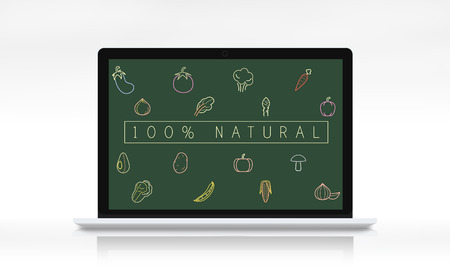 Healthy vegetable icon on computer laptop screen