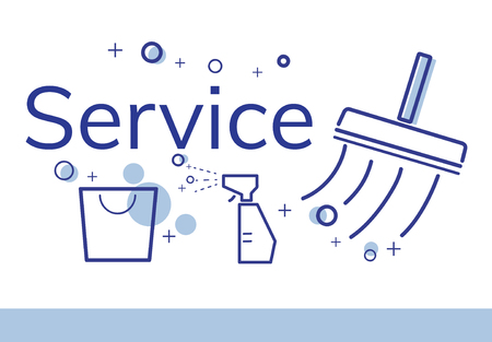 집 청소 서비스 상업의 일러스트 레이션