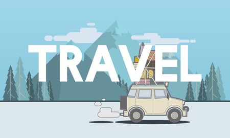 Illustration de voyage de découverte voyage en route voyage Banque d'images - 81632940